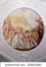 BRONNBACH, GERMANY - JULY 07, 2018: Ceiling frescoes with scenes from the life of St. Bernard of Clairvaux by Johann Adam Remele in Bernard Hall, Cistercian Abbey of Bronbach in Reicholzheim, Germany