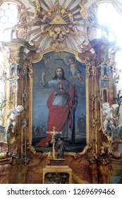 BRONNBACH, GERMANY - JULY 07, 2018: Saint Jude the Apostle altar in Cistercian Abbey of Bronbach in Reicholzheim near Wertheim, Germany