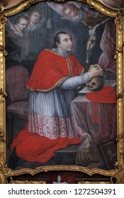 BRONNBACH, GERMANY - JULY 07, 2018: Saint Charles Borromeo, altarpiece in Cistercian Abbey of Bronbach in Reicholzheim near Wertheim, Germany