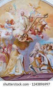 BRONNBACH, GERMANY - JULY 07, 2018:Ceiling frescoes with scenes from the life of St. Bernard of Clairvaux by Johann Adam Remele in Bernard Hall, Cistercian Abbey of Bronbach in Reicholzheim, Germany