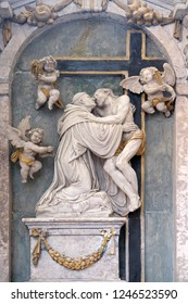 BRONNBACH, GERMANY - JULY 07, 2018:Christ strengthens the praying Bernard of Clairvaux, Bernard altar from the workshop of Michael Kern, Cistercian Abbey of Bronbach in Reicholzheim, Germany