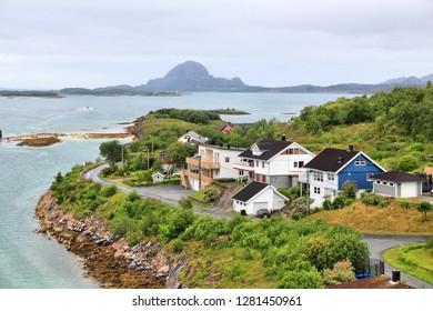 Bronnoysund, Norway. Town view in Nordland county.