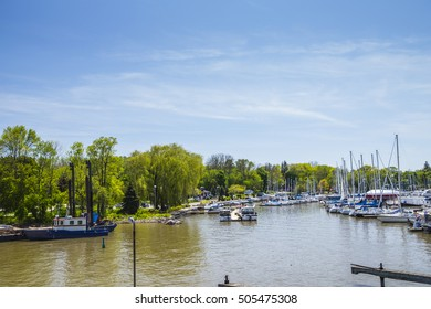 BRONTE, ONTARIO, CANADA - APRIL 17, 2015 : The view of the Harbour in Bronte, part of Oakville which is considered to be the GTA or Greater Toronto Area in an editorial image