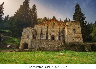 Brontochion Monastery is located on the northern slope of Mystras, an archaeological site dedicated as UNESCO World Heritage Site. Located in the Castle Town of Mystras, Laconia,  Peloponnese, Greece.