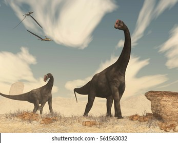 Brontomerus dinosaurs in the desert - 3D render