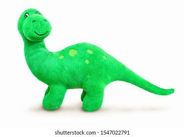 Brontosaurus plush toy. Isolated on white background with natural shadow. Brontosaur stuffed toy on white bg.