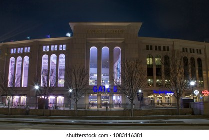 BRONX, NEW YORK - APRIL 7: Night view of Yankee Stadium during game. April 7, 2018 in New York.