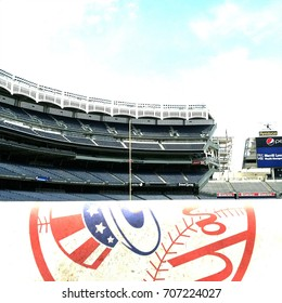 BRONX, NEW YORK - AUG 6 2011: Image from inside and empty Yankee Stadium taken from the baseball dugout