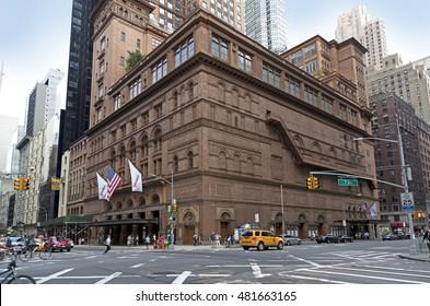 BRONX, NEW YORK - AUGUST 21: Carnegie Hall building in Manhattan.  Taken August 21, 2015 in  New York.