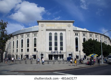 BRONX, NEW YORK - AUGUST 21: Yankee Stadium front entrance in summer.  Taken August 21, 2015 in  New York.