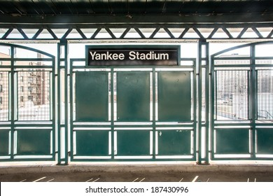 BRONX, NEW YORK CITY - MARCH 8 2014:  Train platform at NY Yankee Stadium.  Yankee Stadium in located in the South Bronx of NYC