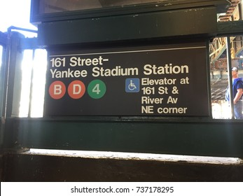 BRONX, NEW YORK CITY - OCTOBER 18, 2017: Yankee stadium subway sign  for B D 4 train at 161st street.  The Yankees Bronx Bombers play the Houston Astros in the ALCS playoffs Game 5 this night.