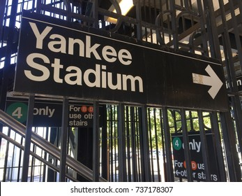 BRONX, NEW YORK CITY - OCTOBER 18, 2017: Yankee stadium sign at 161st street.  The Yankees Bronx Bombers play the Houston Astros in the ALCS playoffs Game 5 this night.