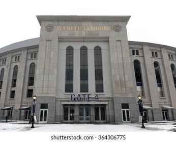 BRONX, NEW YORK - FEBRUARY 19: The new Yankee Stadium during snow season.  Taken February 19, 2015, in the Bronx,  New York.