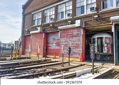 Bronx, New York - January 31, 2016: 240th Street Train Yard (Van Cortlandt Yard) for maintenance of trains.