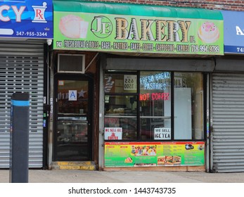 Bronx, New York - July 5, 2019: J E Bakery has been serving the community and business people Albanian/American  bakery/pastries items with sandwiches, coffee for years and has many loyal customers.