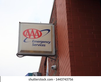 Bronx, New York - July 5, 2019: The AAA logo is familiar in the transportation circle with providing emergency services as well as information and assistance to auto, truck and bus drivers
