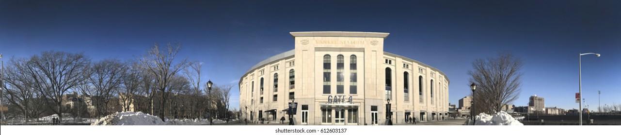 BRONX, NEW YORK - MARCH 21:  Panoramic of Yankee Stadium.  Taken March 21, 2017 in New York.