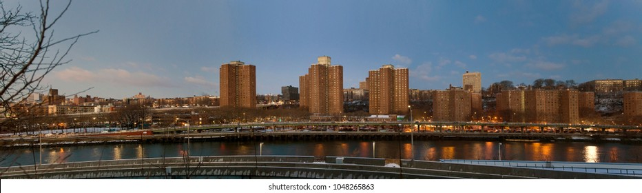 BRONX, NEW YORK - MARCH 7: Panoramic of project buildings along Harlem North of Manhattan.  Taken March 7, 2018 in New York.