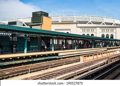 BRONX, NEW YORK - MARCH 8, 2014: Train station platform at Yankee Stadium in the Bronx, New York.