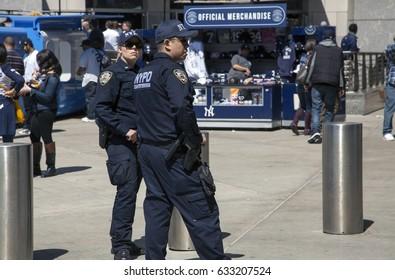 BRONX, NEW YORK, USA - APRIL 10:  NYPD Police Counter terrorism Bureau officers patrol Yankee stadium during opening day game.  Taken April 10, 2017 in New York.