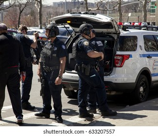 BRONX, NEW YORK, USA - APRIL 10: Several NYPD counter-terrorism bureau officers during opening game at Yankee Stadium.  Taken April 10, 2017 in New York.