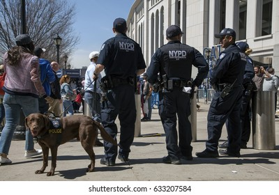 BRONX, NEW YORK, USA - APRIL 10:  NYPDCounter-terrorism Bureau officers during opening day at Yankee Stadium.  Taken April 10, 2017 in New York.