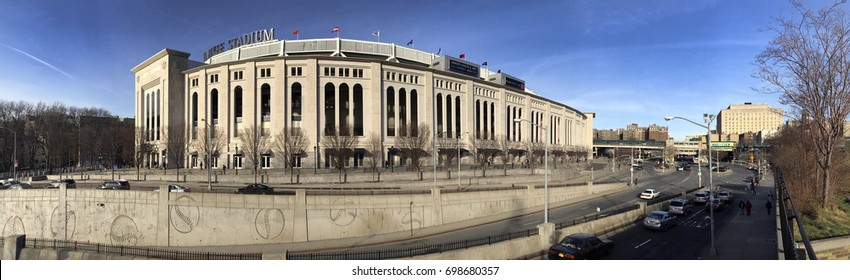 BRONX, NEW YORK, USA -APRIL 9: Panoramic view of Yankee Stadium during the day.  Taken April 9, 2017 in New York.