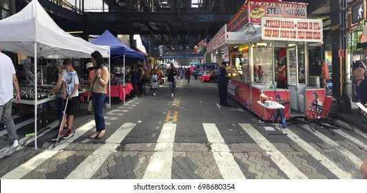 BRONX, NEW YORK, USA -JUNE 24: Street fair on Rivera avenue.  Taken June 24, 2017 in New York.
