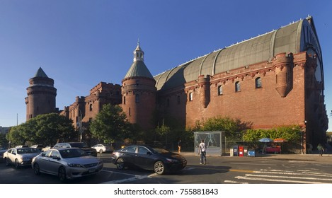 BRONX, NEW YORK, USA - OCTOBER 3: Panoramic view of Kingsbridge Armory also known as eighth Regiment Armory.  Taken October 3, 2017 in New York.