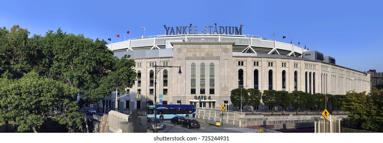 BRONX, NEW YORK, USA - SEPTEMBER 25: Wide view of Yankee Stadium.  Taken September 25, 2017 in New York.