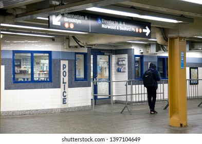 BRONX, NEW YORK/USA - MARCH 1, 2019: District 11 transit police station inside subway mezzanine.