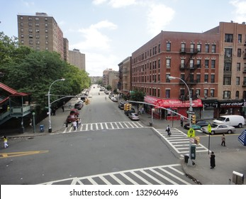 Bronx, NY - July 23 2012: Jackson Avenue and 152nd Street intersection in South Bronx