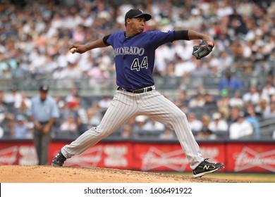 BRONX, NY - JUN 26: Colorado Rockies starting pitcher Juan Nicasio (44) pitches against the New York Yankees on June 26, 2011 at Yankee Stadium.