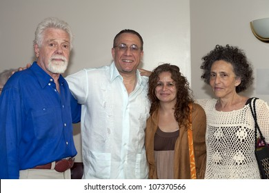 BRONX, NY - JUNE 24: Left to right; Roswell Rudd, Bobby Sanabria and friends during visit to legendary cuatro player Yomo Toro in Hospital. Yomo has since expired. Photographed June 24, 2012 in NYC.