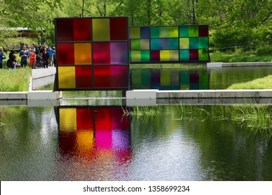 Bronx, NY - May 14 2017: Dale Chihuly's Koda Studies on display at the New York Botanical Garden