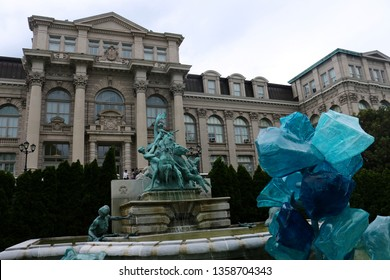 Bronx, NY - May 14 2017: Dale Chihuly's Blue Polyvitro Crystals outside the Luesther T. Mertz Library in New York Botanical Garden