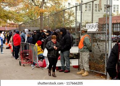 BRONX, NY - NOVEMBER 3: Hurricane Sandy causes gas shortage in Bronx  free gas relief program at Bronx Armory in the Bronx NY, U.S., on Saturday, November 3, 2012.