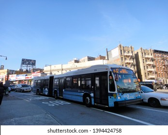 Bronx, NY - October 23 2012: The Bx12 Select Bus Service on Fordham Road