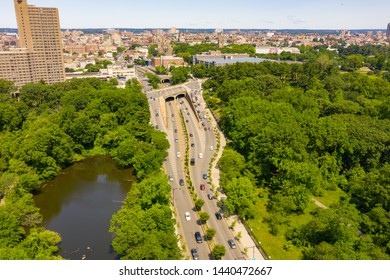 THE BRONX, NY, USA - JUNE 22, 2019: Aerial drone photo of The Bronx Zoo and Botanical Gardens