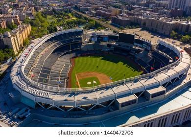 THE BRONX, NY, USA - JUNE 22, 2019: Aerial shot of Yankee Stadium NY