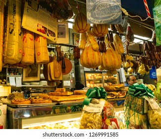 Bronx, NY/United States-Dec 27, 2018: A view inside the Arthur Avenue Market. Deli counter offering various  Italian meats and cheeses.