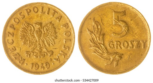 Bronze 5 groszy 1949 coin isolated on white background, Poland