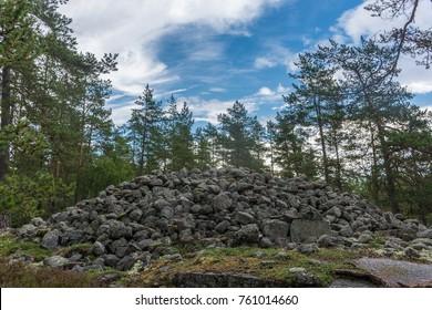 The  Bronze age burial site of Sammalahdenmaki , UNESCO heritage in the forest near Rauma, Finland