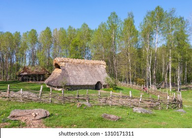 Bronze age Longhouse in a spring landscape