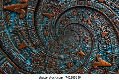 Bronze ancient antique classical spiral aztec ornament pattern decoration design background. Surrealistic abstract texture fractal spiral background. Bronze color spiral effect. Surreal alien pattern