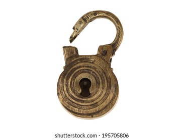 Bronze ancient lock of manual work. Isolated
