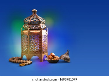 Bronze arabic lantern and dates fruit and rosary beads