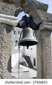 Bronze bell detail of the Monastery  St. John, Patmos. Orthodox Monastery in Chora,  Dodecanese Island,Greece. UNESCO World Heritage Site