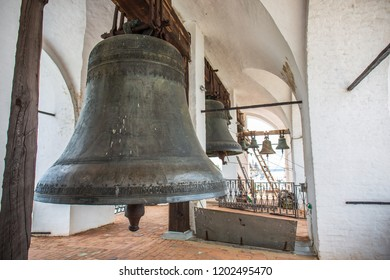 Bronze bells on tower in ancient Kremlin in Rostov the Great, Russia, monument of architecture of famous tourist Golden Ring of Russia